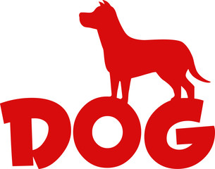 Dog Red Silhouette Over Text Illustration