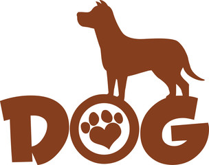 Dog Brown Silhouette Over Text With Love Paw Print