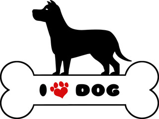 Dog Black Silhouette Over Bone With Text And Red Love Paw Print
