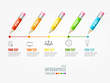 Vector Timeline Infographic. Pencil pin