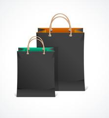 Vector illustration of Black Paper Bag.