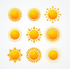 Vector Set of glossy sun icon set