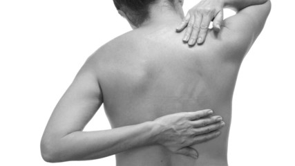 Female With Back Pain Black and White