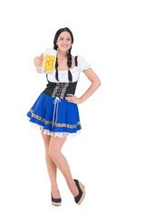 Pretty oktoberfest girl holding beer tankard
