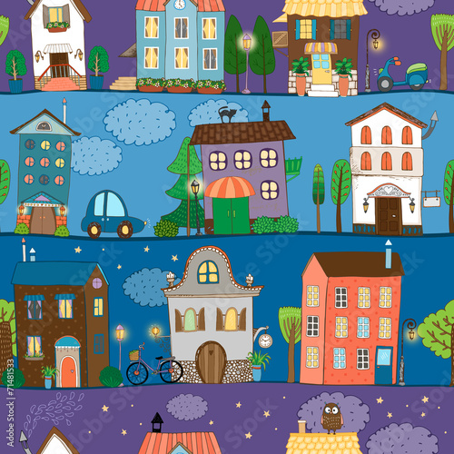 Fototapeta Several colorful and cute house designs