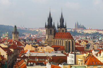 View from the height Powder Tower Prague.
