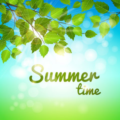 Summertime background with fresh green leaves