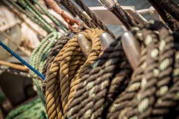 Mates and ropes from a sailing boat