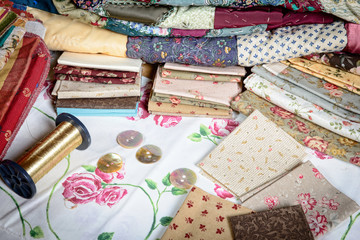 various piece of fabric to make a quilt