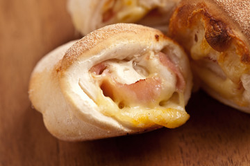 pizza buns with cheese and ham