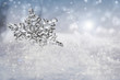 Beautiful snowflake outdoor in Winter.