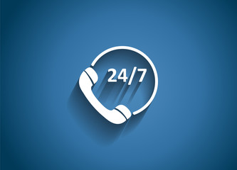 Customer service 24/7 Glossy Icon Vector Illustration