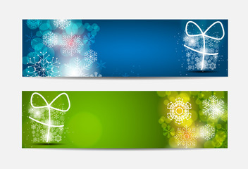 Christmas Snowflakes Website Banner and Card Background Vector I