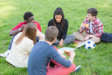 Teen Friends Having a Break at Park