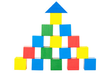 Structure made of wooden toy blocks