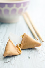 fortune cookie on the cracked table