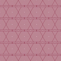 Red and White Hexagon Tiles Pattern Repeat Background