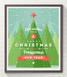 Wooden frame with flat and type design Christmas poster