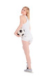 Young caucasian female with soccer ball on white background