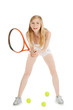 Woman playing tennis waiting tennis ball over white