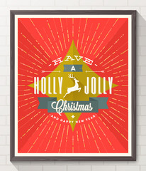 Type Christmas design - flat style poster