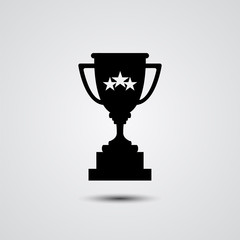 Trophy cup silhouette vector icon.
