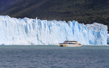 Cruise ship boat near glacier in Patagonia, Argentina
