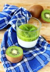 cream dessert with fresh kiwi