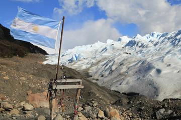 Argentina flag at Perito Moreno Glacier