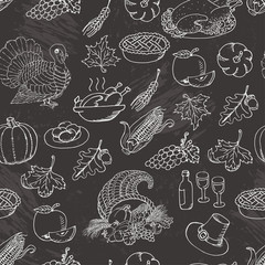 Thanksgiving seamless pattern sketch doodle