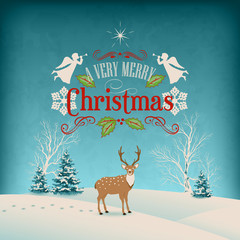Vector Christmas Retro Greeting Card