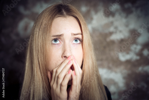 canvas print picture anxious young blonde woman