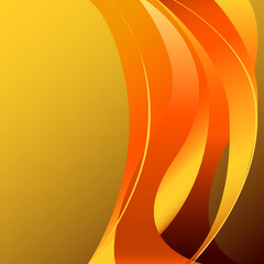 Fiery flame vertcal on a yellow background isolated