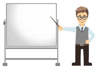 Male Teacher Pointing At Mobile Whiteboard Left