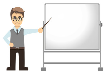 Male Teacher Pointing At Mobile Whiteboard Right