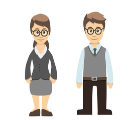 Teacher Male and Female Standing