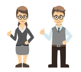 Teacher Male and Female Thumbs Up