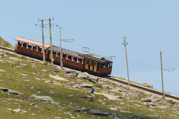 La Rhune cog train. Antique wooden train in France