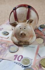 cochon tirelire sur argent de banque