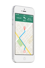 White modern mobile smart phone with map gps navigation app on t