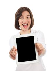 Happy woman presenting a digital tablet