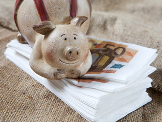 tirelire cochon et liasse d'euros