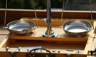 old precision balances with steel plates