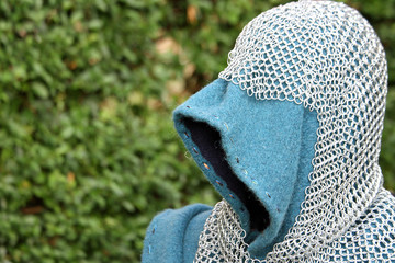 armor of the medieval knight armor with protective hood