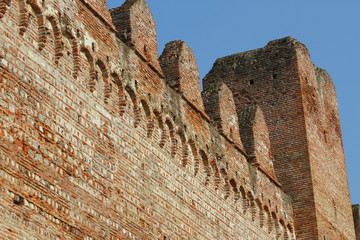 detail of walls for the protection of the medieval city made wit