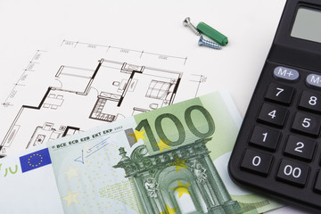 Construction concept with Euros (EUR)