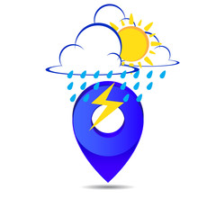 Weather pin pointer icon symbol vector