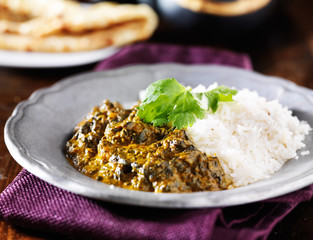 plate of indian saag paneer curry