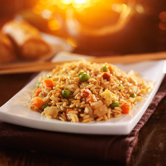 chinese vegetable fried rice with chopsticks