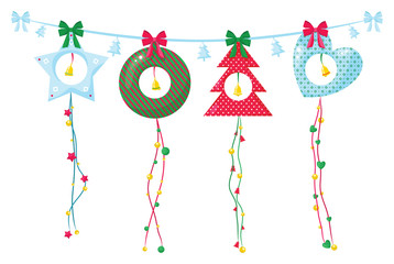 Christmas decoration garland with ribbons and bells.